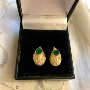 18K Gold  Emerald Diamond Accent Stud Earrings